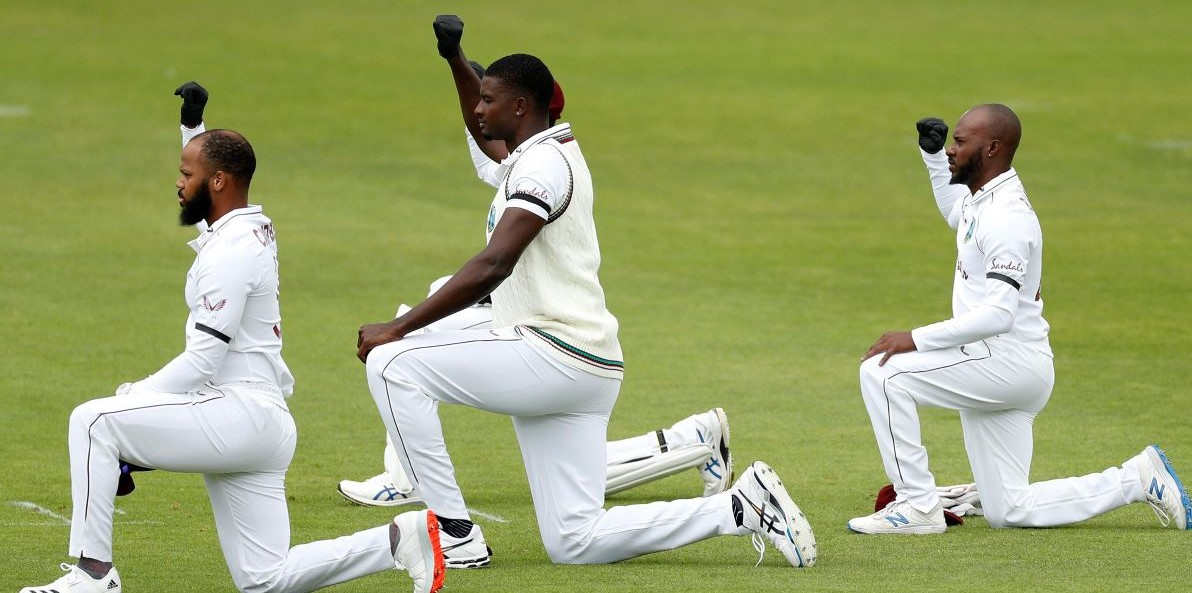 West Indies, England Cricket Players Kneel At Test Match